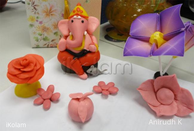 Rangoli: Color clay dough Ganesha