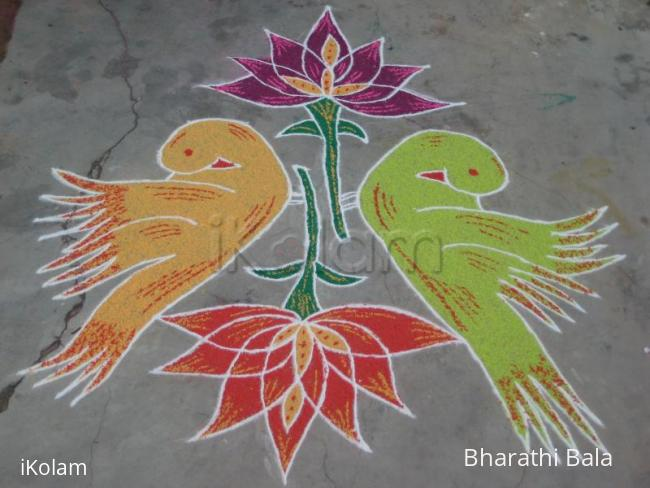 Rangoli: Birds & lotus