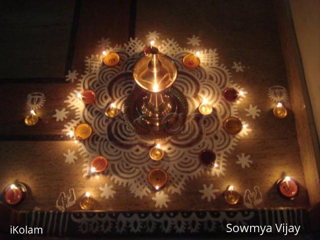 Rangoli: Karthigai kolam with lamps