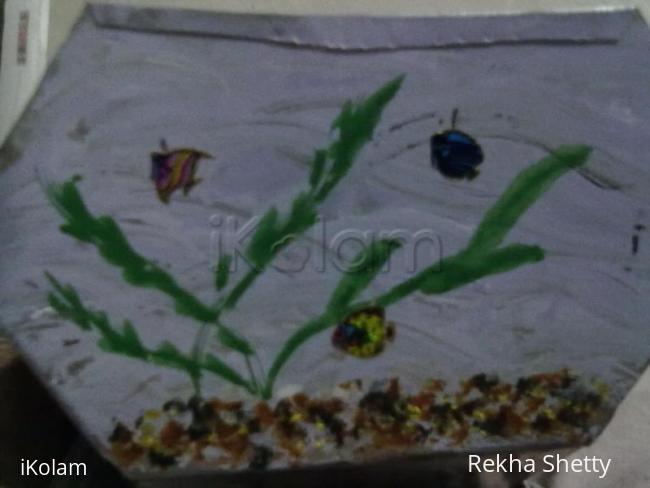 Rangoli: Metal basket painting-2(outside)