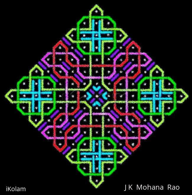 Rangoli: A rangOli with 1 to 15 dots (8x8 dots) - 3