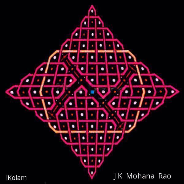 Rangoli: rangOli with 1 to 15 dots (8x8 dots) - 5