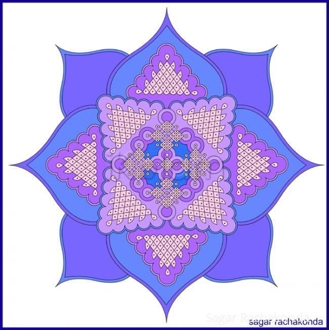 Rangoli: Blue Lotus!
