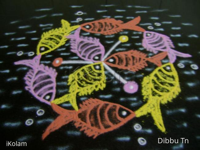 Rangoli: Fishes on the cruise