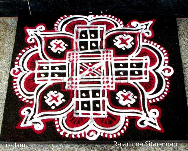 Rangoli: Red and white Padikolam