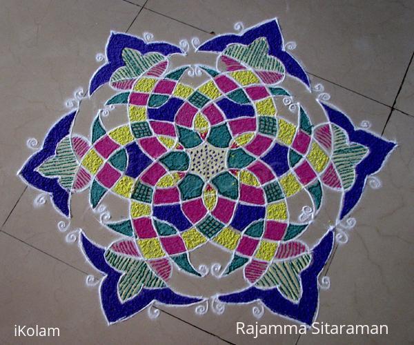Rangoli: Basic design no. 1 on the floor