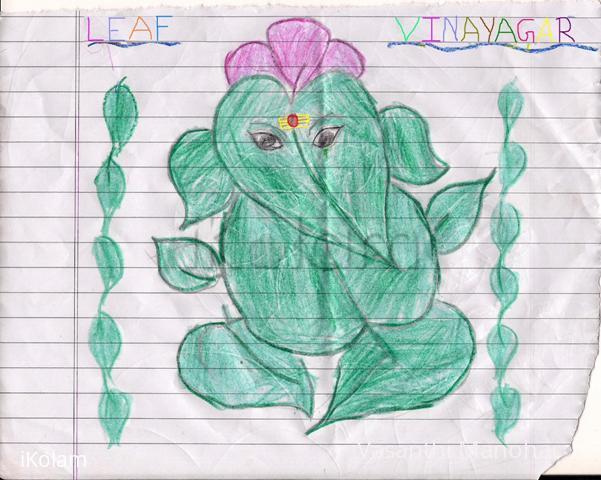 Rangoli: Leaf Vinayagar Drawing