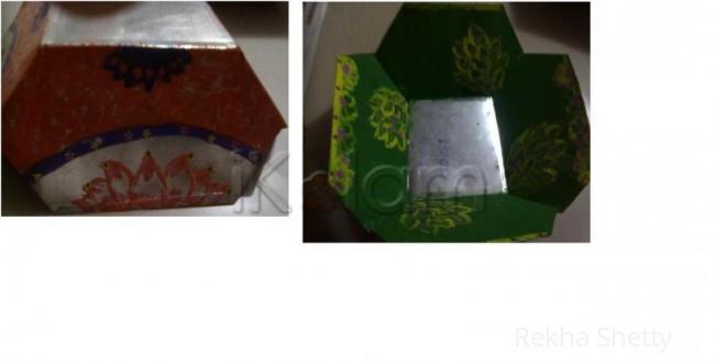 Rangoli: metal basket painting-3