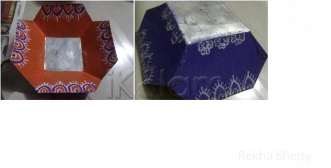 Rangoli: metal basket painting-5