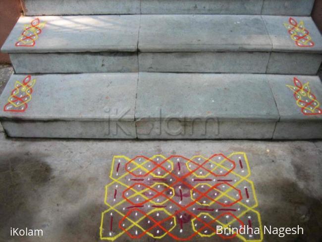 Rangoli: Josephine knot kolam - kolapodi version