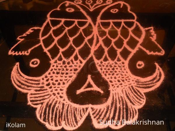 Rangoli: orange fish 3