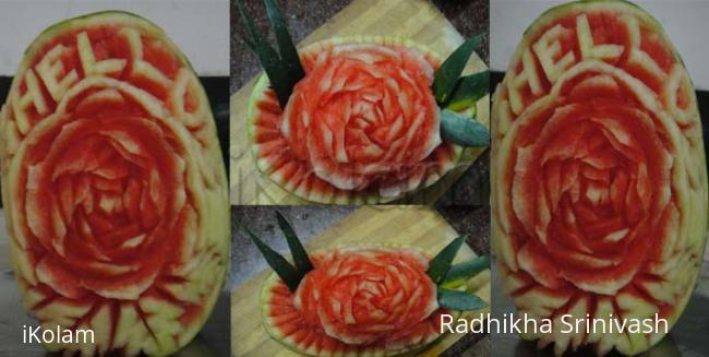 Rangoli: rose water melon carving
