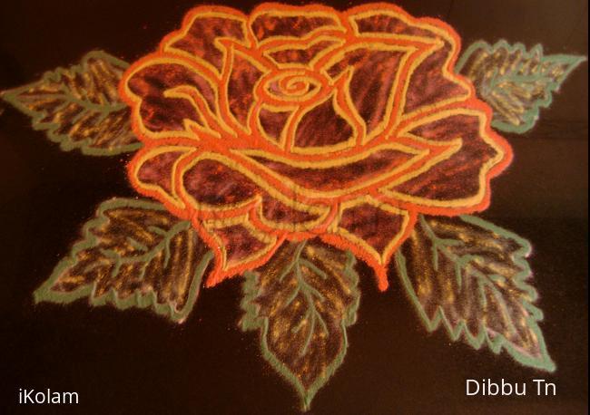 Rangoli: Fully Bloomed Rose for Maha