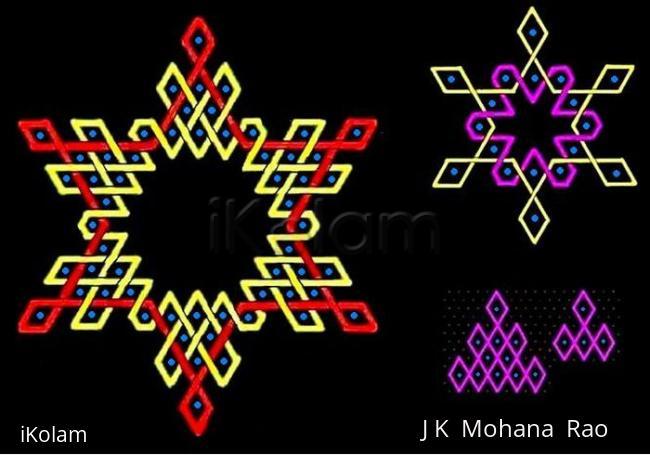 Rangoli: Triangular arrangement of rhombuses in hexagonal patterns