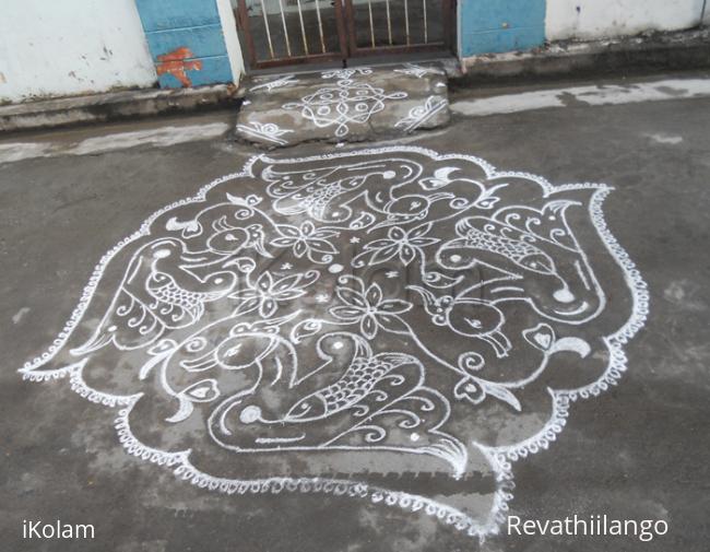 Rangoli:  Fish within Swan kolam