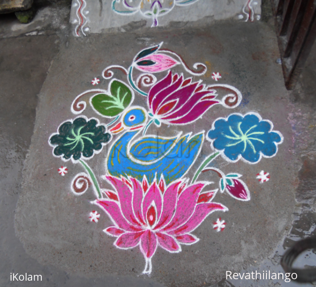 Rangoli: Duck on lotus rangoli