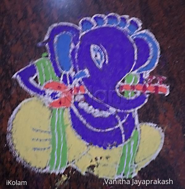Rangoli: Ganesha with Sitar