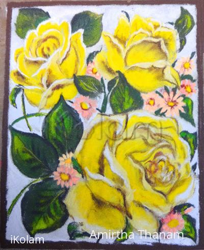 Rangoli: yellow roses