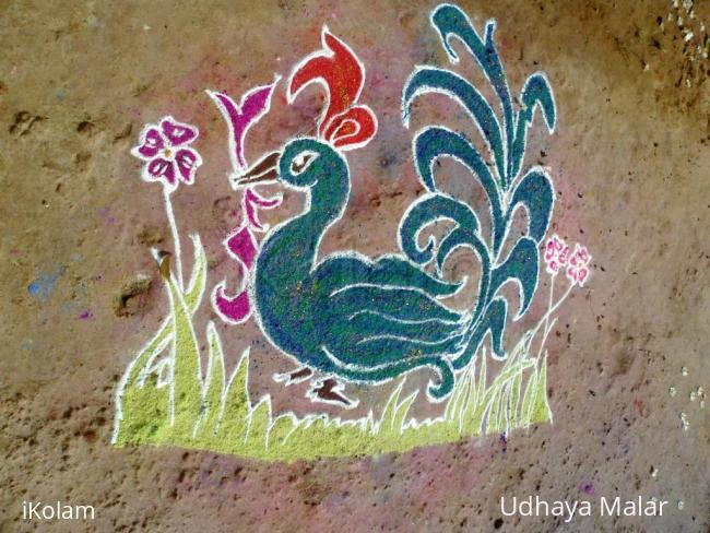 Rangoli: Free hand Hamsa design