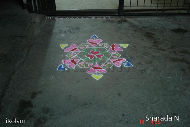 Rangoli: Dotted valentine's day kolam