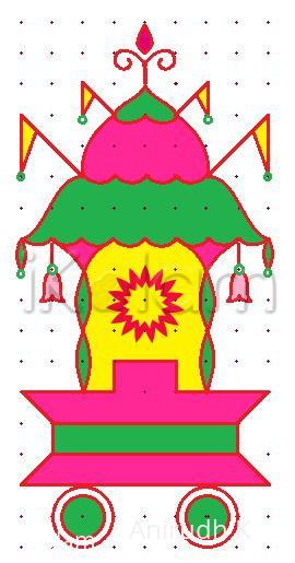 Rangoli: Simple Chariot for Rathasapthami