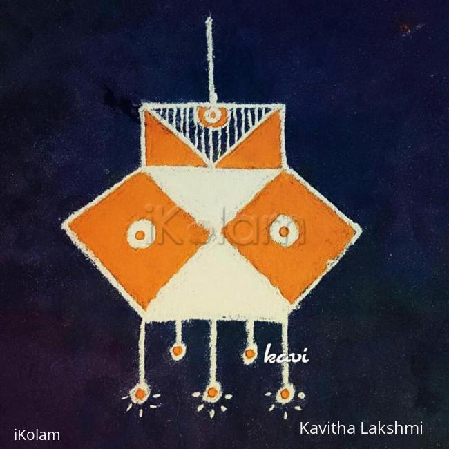 Rangoli: Navarathri Day 4: color code: Orange - lantern