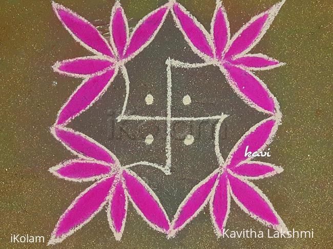 Rangoli: Swasthik stalk flower