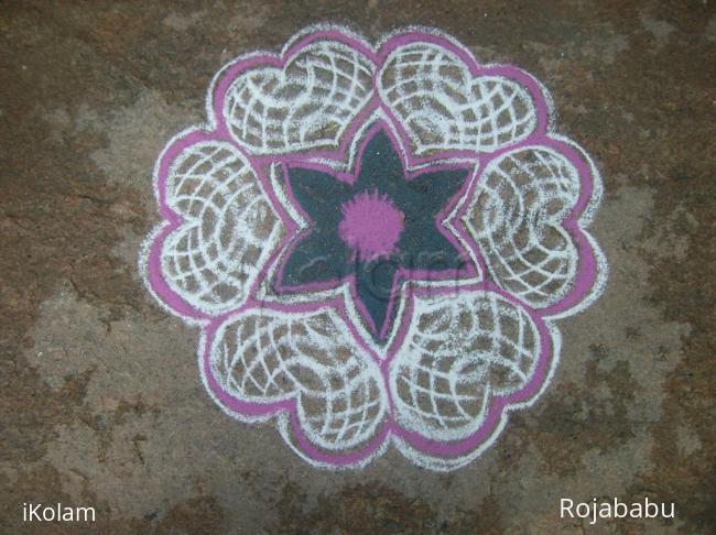 Rangoli: star n hearts