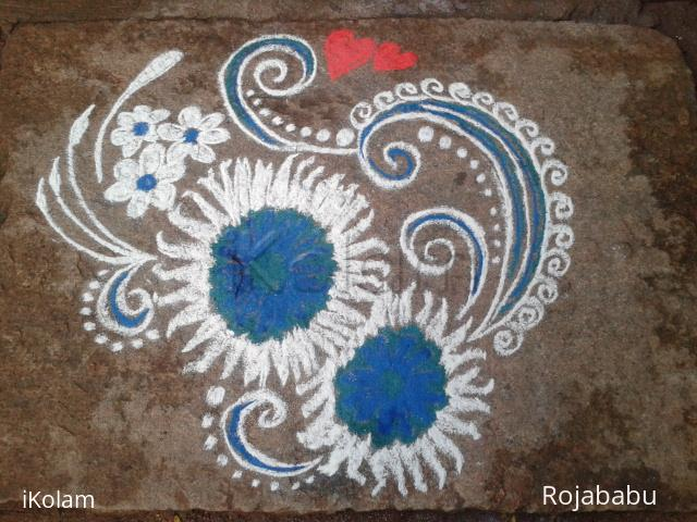 Rangoli: white n blue rangoli