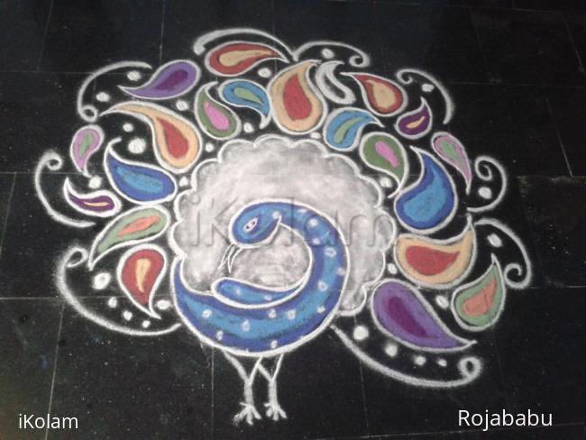Rangoli: Paisley Peacock rangoli