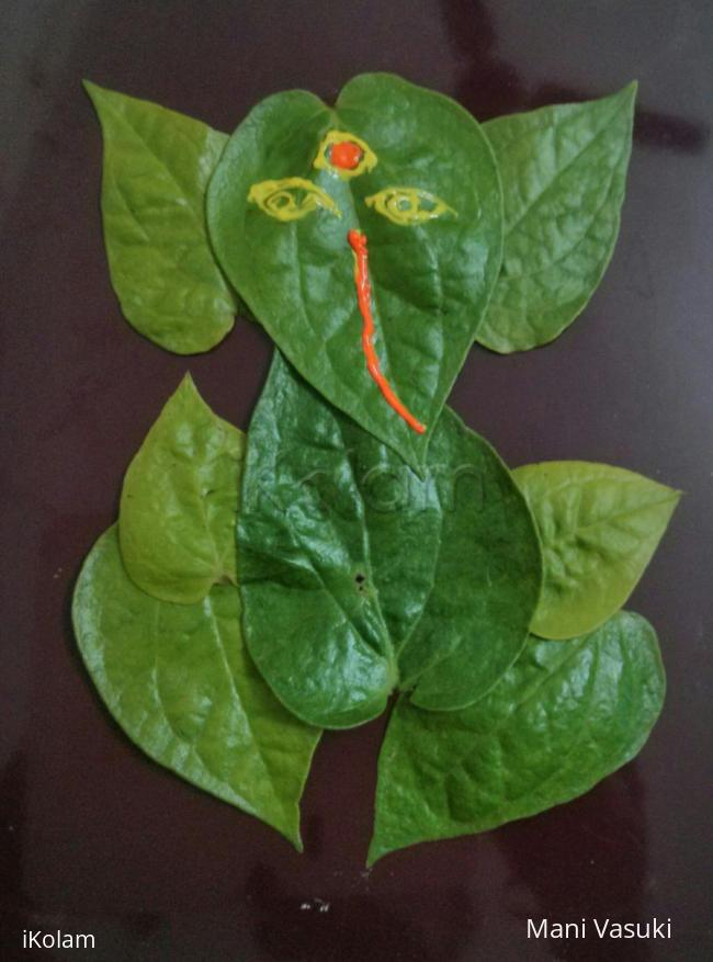 Rangoli: Leaf ganesha