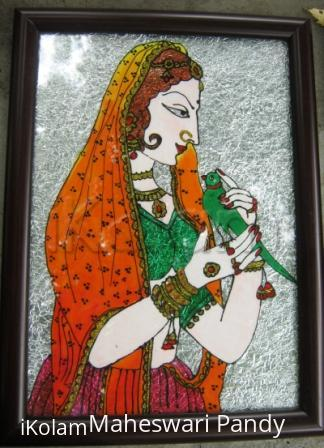 Rangoli: Women with Parrot