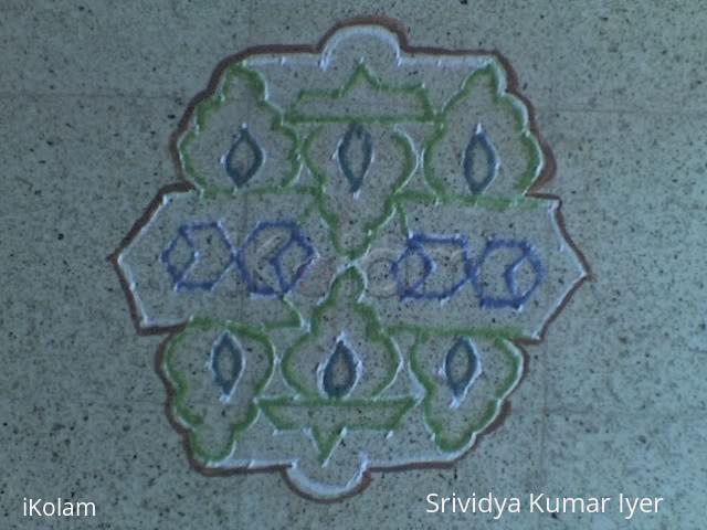 Rangoli: 13-7 Idai Pulli Lamp Kolam