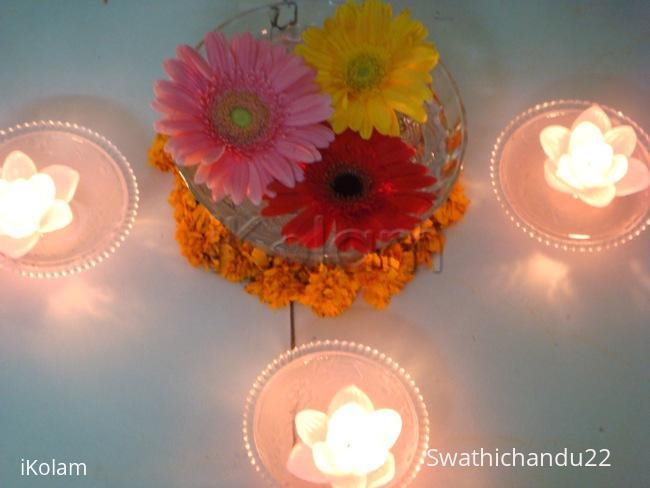 Rangoli: Flowers and Diyas in water - Diwali