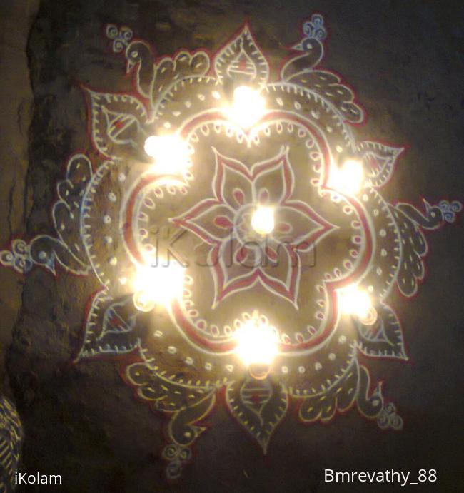 Rangoli: Free Hand Design in Karthigai Deepam Evening