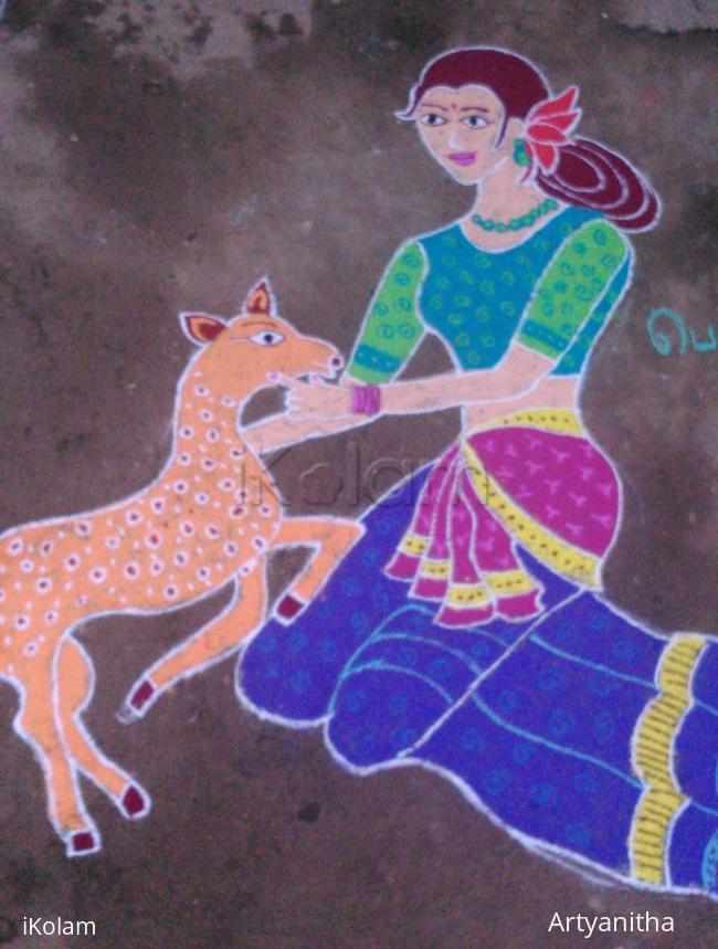 Rangoli: Girl With Deer