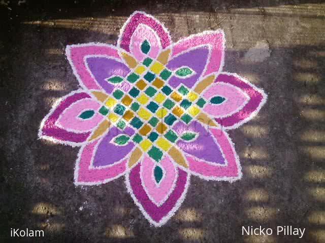 Rangoli: The opened 8 petal lotus