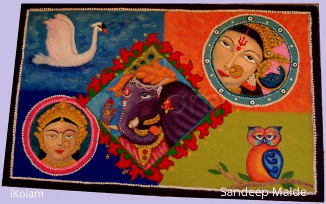 Rangoli: Saraswati, Ganesha & Laxmi/Dhurgha