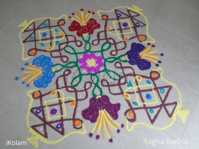 Rangoli: Colorful Chikku Flower Pots
