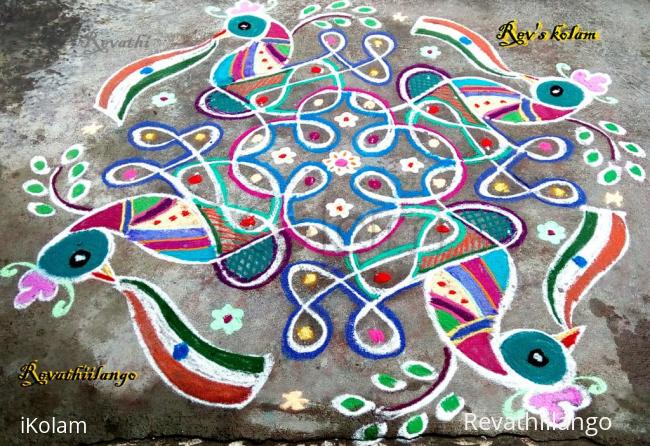 Rangoli:  Rev's Independence day kolam.