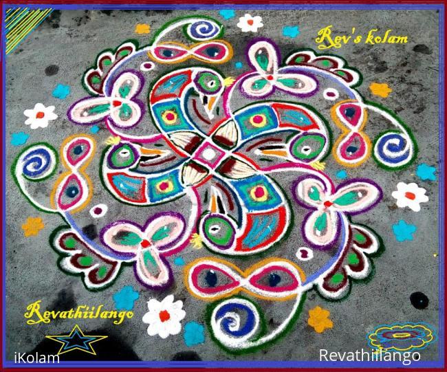 Rangoli: Rev's swastik peacock chikku daily kolam 5.