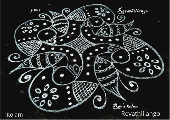 Rangoli: Rev's black & white peacocks for valentine's day.