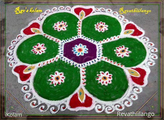 Rangoli: Rev's green rangoli.