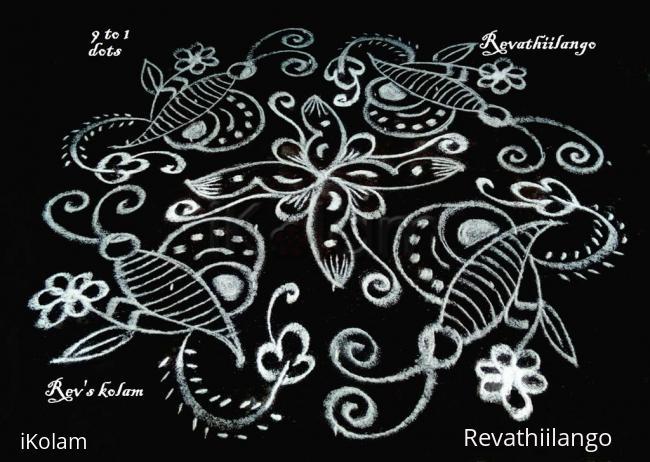 Rangoli: Rev's white butterfly kolam.