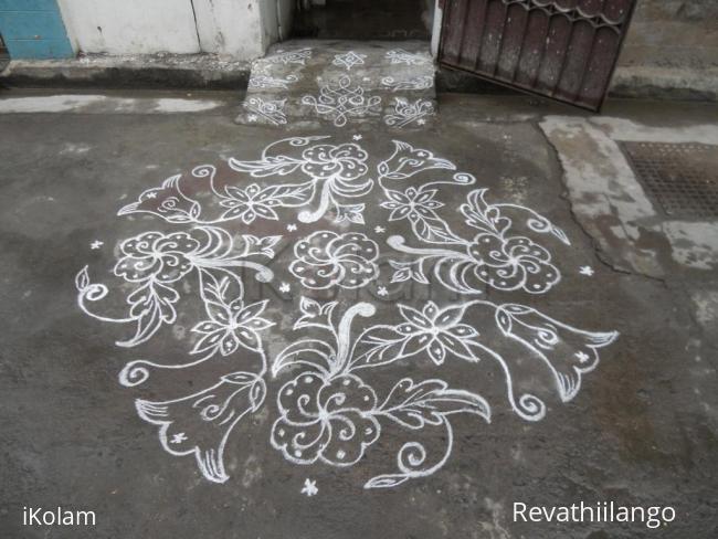 Rangoli: Different Flower Kolam in White.