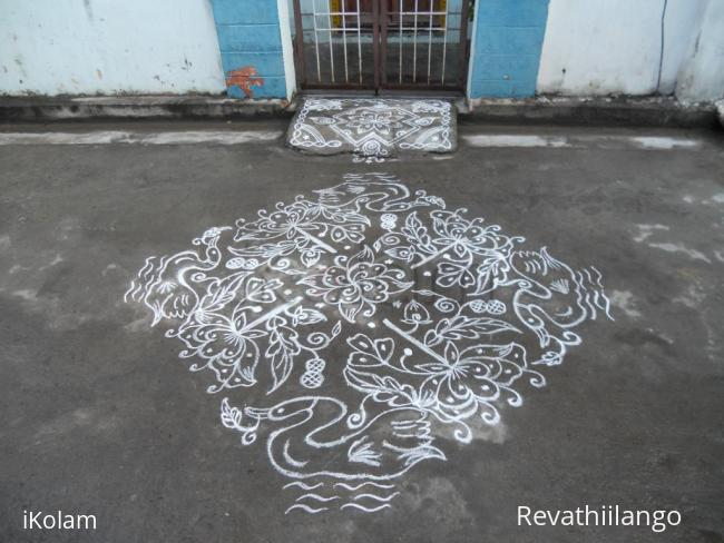 Rangoli: Swan & Rose Kolam in White.