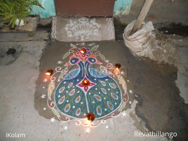 Rangoli: Peacock valentine rangoli