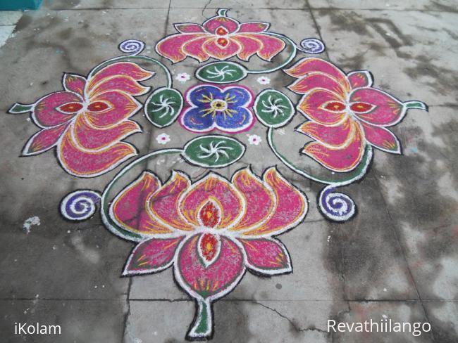 Rangoli: Lotus & leaf of lotus kolam