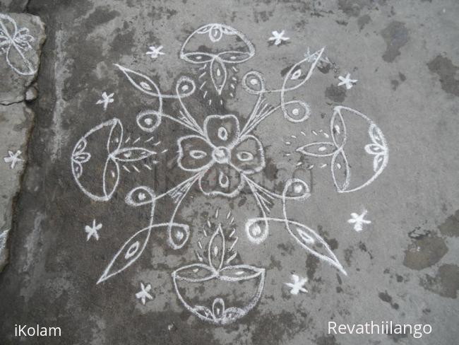 Rangoli: Deepam kolam for Aadi.