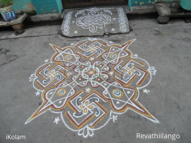 Rangoli: Rev's chikku & swesthik new kolam.